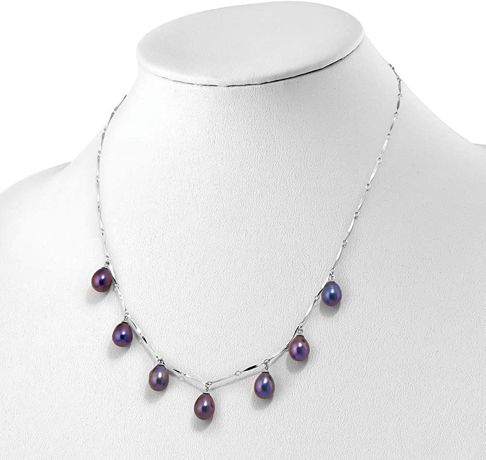 925 Sterling Silver Rh 7-8mm Black Rice Freshwater Cultured Pearl Dangle Necklace 17.5 Inch