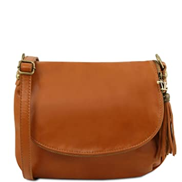 Amazon.com  Tuscany Leather TLBag Soft leather shoulder bag with tassel  detail Cognac  Tuscany Leather Official Store b767b10053cfe