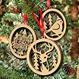 Tinksky Merry Christmas Wooden Embellishments Plain Wood Crafts Christmas Tree Bird Hanging Ornament Laser Cut 3pcs