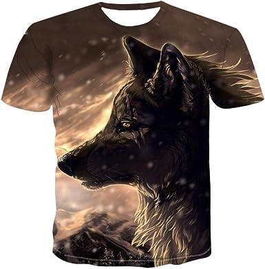 Camiseta para Hombre 、 Camiseta Wolf 3D Camiseta Negra ...
