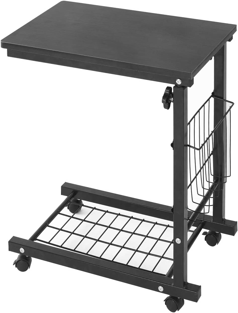 sogesfurniture Height Adjustable Sofa Side Table End Table C Table Laptop Holder End Stand Desk Coffee Tray Side Table,Black BHUS-ZS-C6-BK