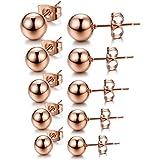 Chryssa Youree Men Women's 5 Pairs Stainless Steel Ball Stud Earrings Round Ball 4-8mm(ED-40) (rose gold)