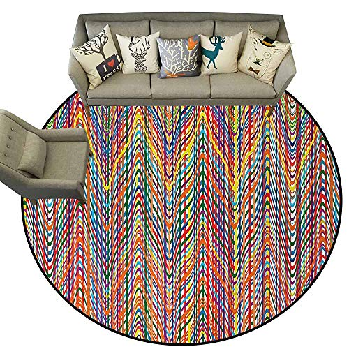 - Abstract,Round Rugs for Bedroom Living Room D78 Colorful Zigzag Pattern with Mixed Contrast Messy Tone Lines Modern Stripes Image Carpet Flooring Multicolor
