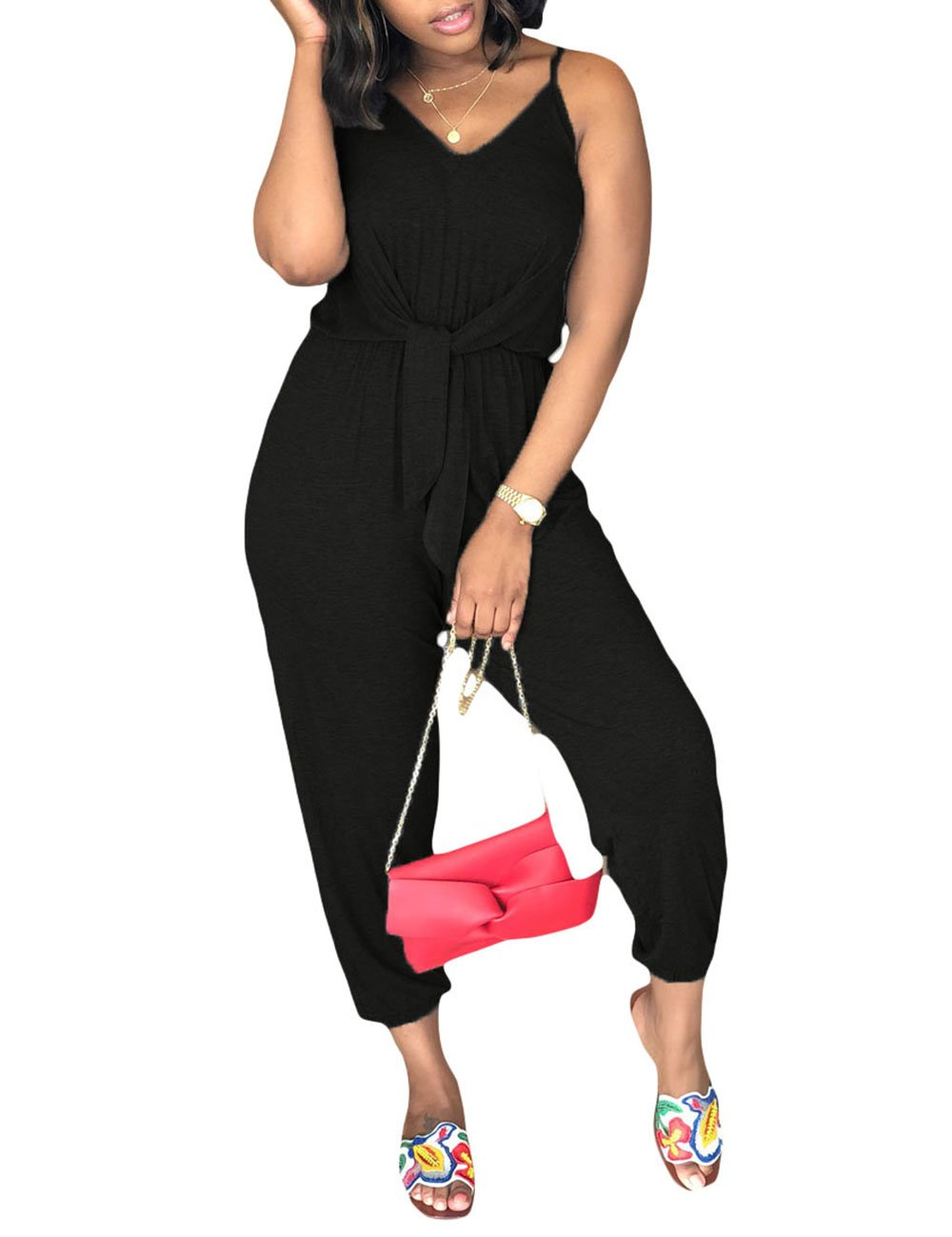 Angsuttc Women's Sleeveless V Neck Tie Front Casual Loose Solid Jumpsuit Black XL