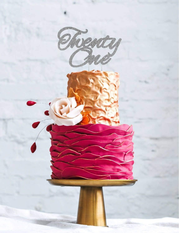 Decoración superior para tartas con un diseño con letras curvas que reza: «Twenty One»: Amazon.es: Hogar