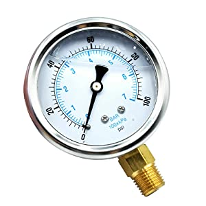 "Tailonz Pneumatic New Stainless Steel Liquid Filled Pressure Gauge WOG Water Oil Gas 0 to 100 PSI Lower Mount 0-100 PSI 1/4"" NPT 2.5"" FACE DIAL for Compressor Hydraulic Air Tank"