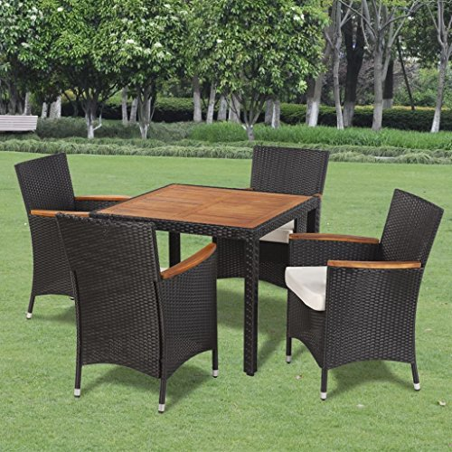 Outdoor Dining Room Set Nine Pieces with Wooden Top Black Poly Rattan Garden Furniture Set - Powder-Coated Steel Frame
