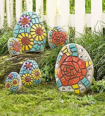 Set of 6 Colorful Outdoor Mosaic Stones Decorative Yard Garden Rocks All Weather Resin Largest Measures 7.75 L x 3.25 W x 9.75 H
