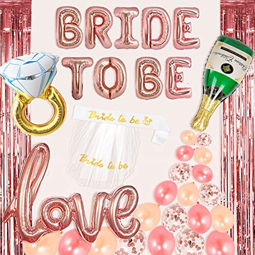 Bachelorette Party Decorations Kit Rose Gold Bride to Be Balloons Bridal Shower Supplies,Bride to Be Sash,Veil,Champagne Bottle/Ring Balloon,Rose Gold Confetti Balloons Love Balloon Curtains Backdrop