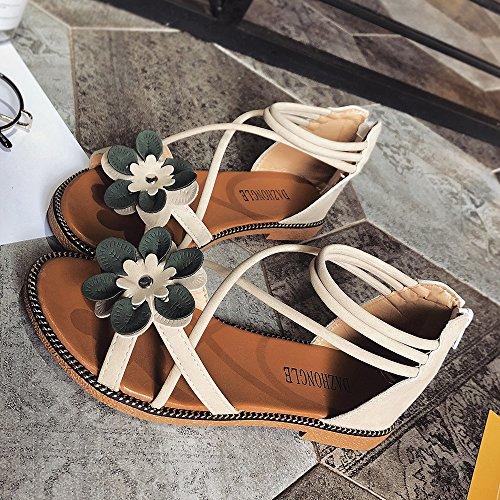 da Slittamento Sandali Donna Anti Scarpe da Estivi Scarpe Beige con Topgrowth Sandali Tacco Basso Fiore Spiaggia Aperta a Punta Sqv4w8