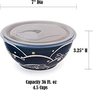 """Microwave Ceramic Bowl With Vented Lid Ideal For Food Prep Freezer Fridge Food Storage Meal Planning Lunch Box (Navy Blue Dragonfly 7"""")"""