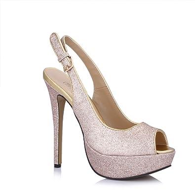 6d035add4c1d CHMILE CHAU Glitter Sexy Bridal Women Pumps Stiletto High Heels Peep Toe  Platform Slingback Ladies Shoes: Amazon.co.uk: Shoes & Bags