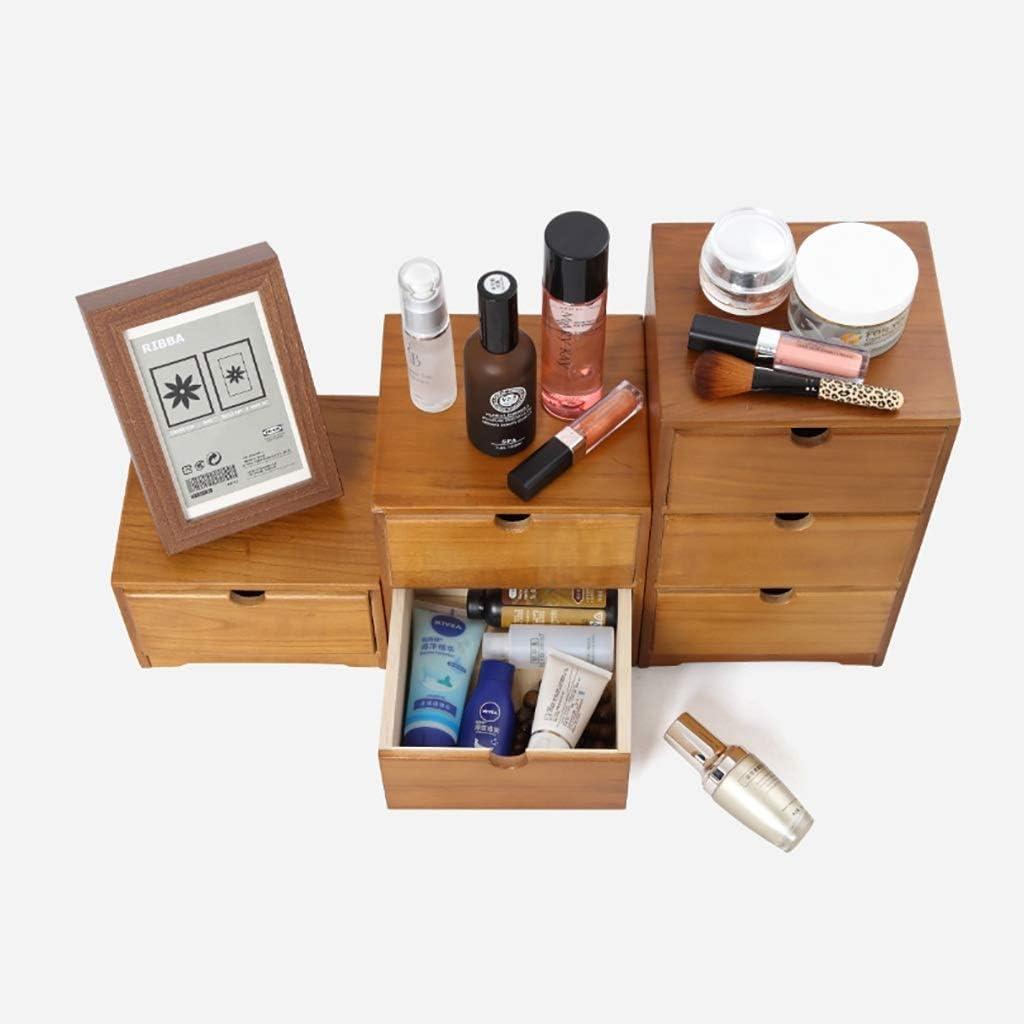 Multilayer Wood Desktop Organizer Storage Box with Drawers for Monitor Stand//Printer Platform Desktop File Cabinet Size : 2-Layers