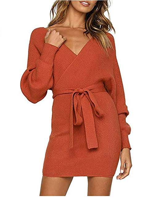 76d6e37ac0f Image Unavailable. Image not available for. Color  FuJianShengNan Women s  Sexy V Neck Wrap Belted Batwing Long Sleeve Backless Pencil Knitted Mini  Sweater ...