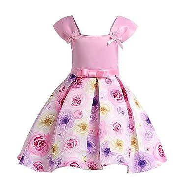 e593a97d4d799 ARAUS Princess Robes Girls Print Robes d été pour Fille Robe Soirée  Mémorial Cérémonie de Mariage 3-10 Ans  Amazon.fr  Vêtements et accessoires