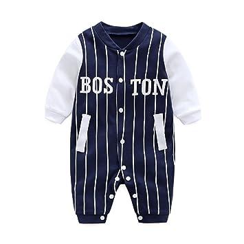 492d1181b7cb7 DOESLOOK ベビー服 男の子 野球 乳児 ロンパース 新生児 服 前開き 長袖 柔らかい綿 赤ちゃん肌着 春