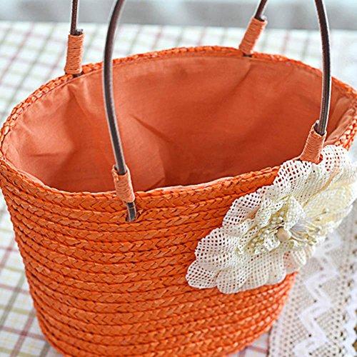 Woven Bag Shoulder Beach Women Straw Orange Handbags By Shopping Flower Straw Small Tote Prosperveil Summer dSRqXSaw