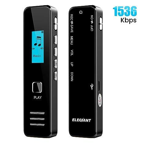 Grabadora voz digital ELEGIANTE 1536Kbps 8 GB pantalla LCD Estéreo Dispositivo de Grabación Reducción Audio portátil