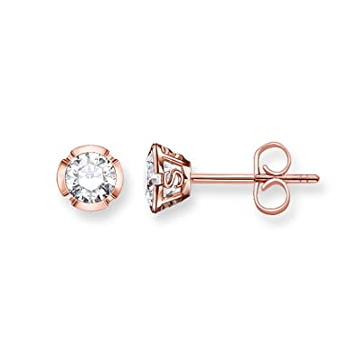 Thomas Sabo Women-Ear studs Glam & Soul 925 Sterling Silver 18k rose gold plating Zirconia white H1835-416-14 BYMp1CPpLN