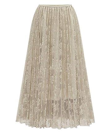 Faldas para Mujer Cintura Elástica Retro Falda Plisada Falda Mode ...