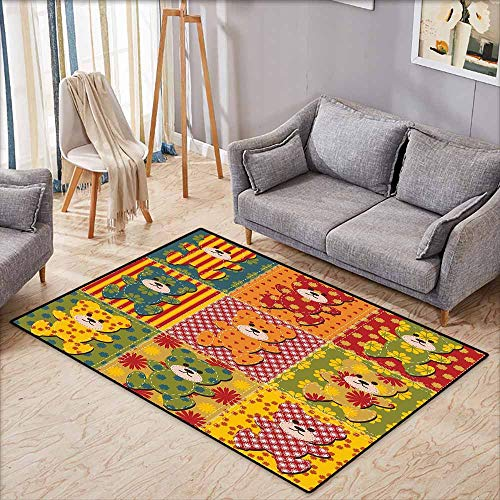 Classroom Rug,Cabin Decor,Colorful Kids Room Pattern with Patchwork Style Teddy Bears Cute Funny Childish,Machine-Washable/Non-Slip,4'7