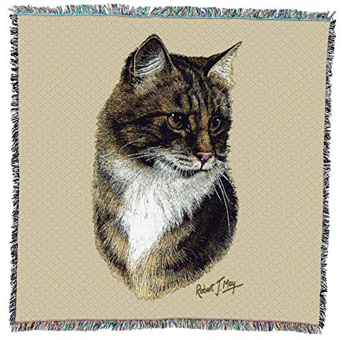 Pure Country Weavers | Brown Tabby Cat Woven Blanket with Fringe Cotton USA 54x54