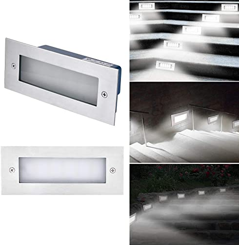 LED Indoor Outdoor Step Light,Ai CAR FUN LED 6000K Cold White Step Stair Light 85-265V Aluminum Waterproof Staircase Light 6.7 x 2.8 x 2 in for Rectangle Wall Mount Stairway Light Landscape Lighting