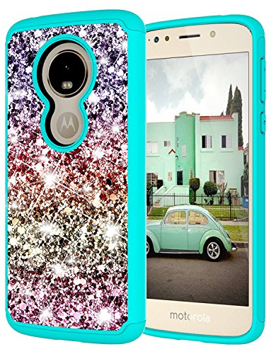 Moto G6 Play Case, Moto G6 Play Case for Girls, Jeylly Gradient Color Bling Glitter Luxury Crystal Dual Layer Shockproof Hard PC Soft TPU Inner Protector Case Cover for Motorola Moto G6 - Turquoise