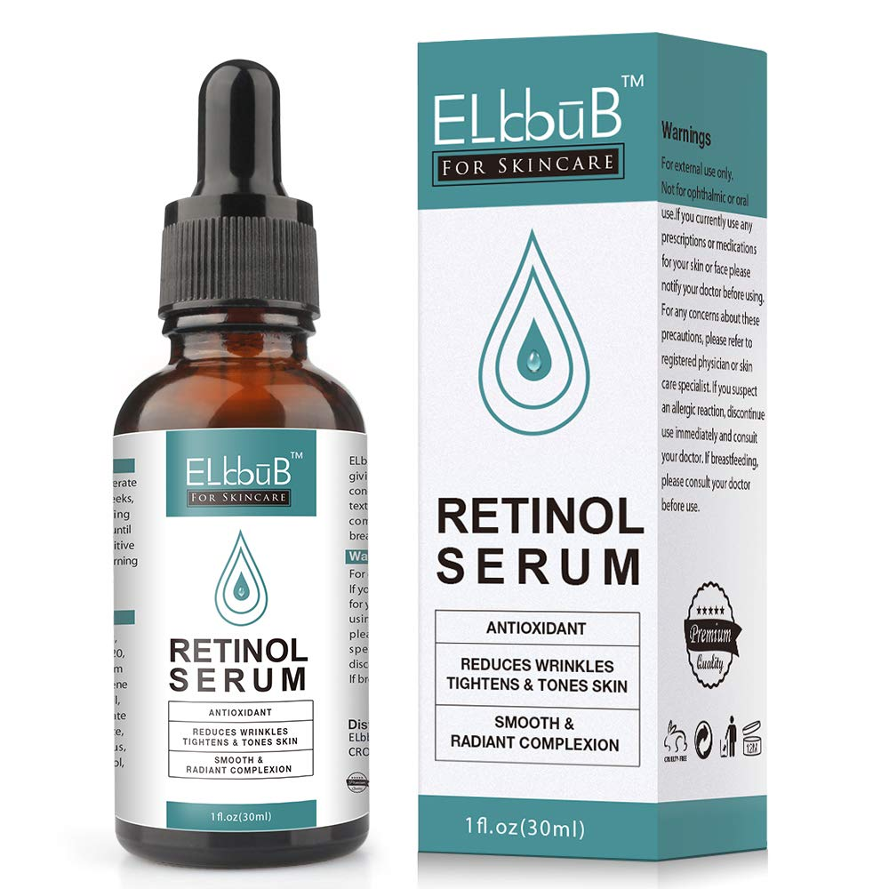 Retinol Serum for Face, Best Anti-Aging Serum for Face Reduces Wrinkles and Boosts Collagen - Heals and Repairs Skin while Improving Tone and Texture - Hyaluronic Acid & Vitamin E, 1 fl oz