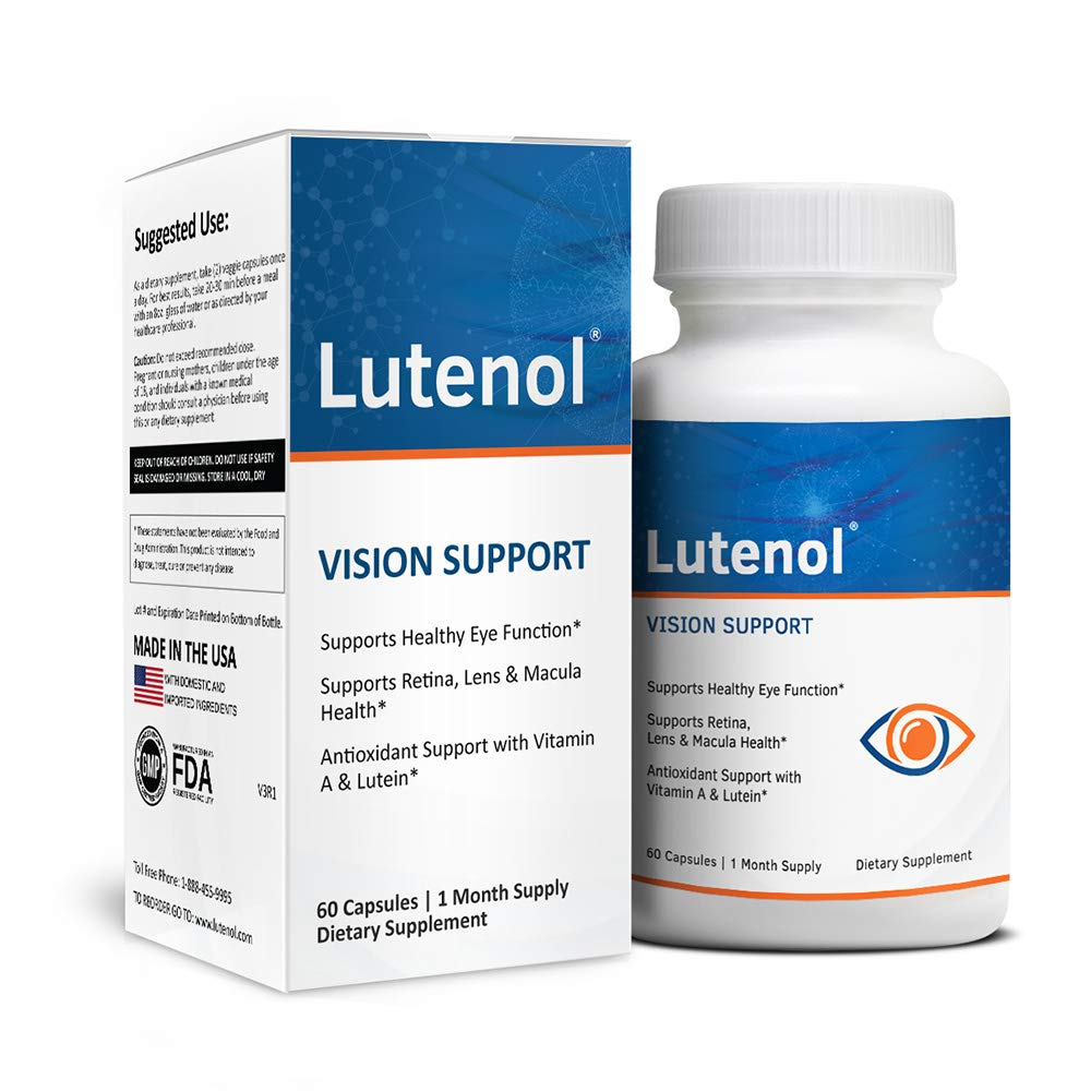 Lutenol | Natural Vision Support Formula Containing Lutein, Zeaxanthin, Zinc, and More. 60 Capsules.