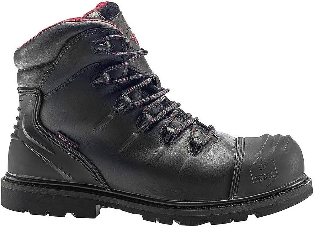 Black Avenger Safety Footwear Mens 6 Leather Carbon Nanofiber Comp Toe Waterproof Puncture Resistant EH Slip Resistant Boot 13 6E US