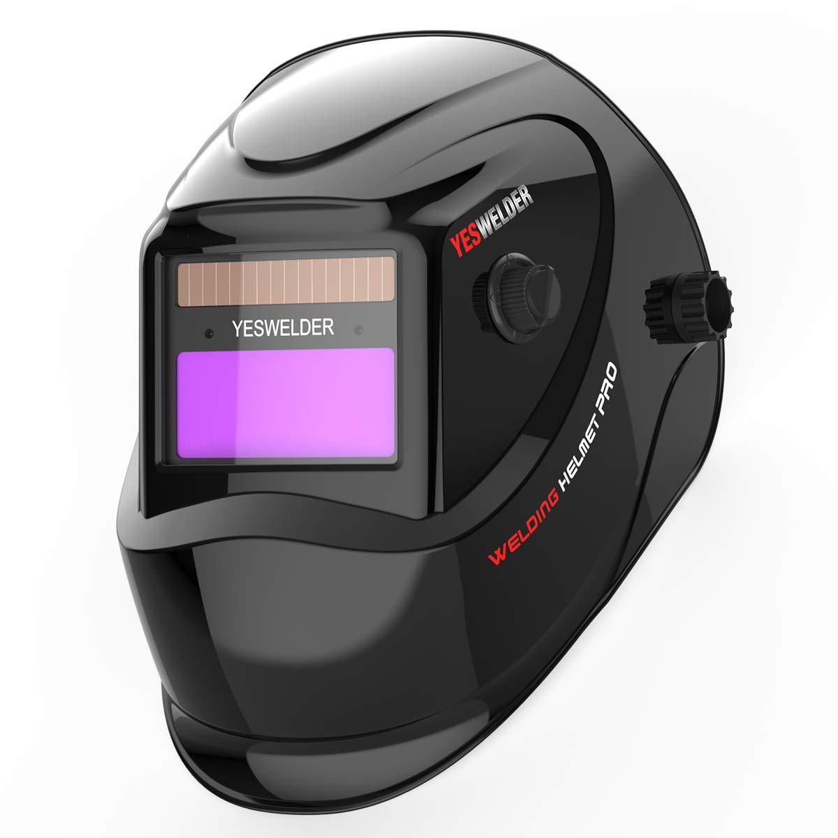 YESWELDER True Color Solar Powered Auto Darkening Welding Helmet, Wide Shade 4/9-13 for TIG MIG ARC Weld Hood Helmet by YESWELDER