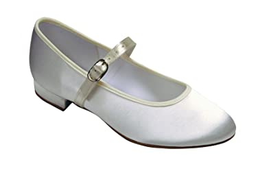 45df23979 Girls White or Ivory Satin Strap Shoes Sizes 10 to 3: Amazon.co.uk: Shoes &  Bags