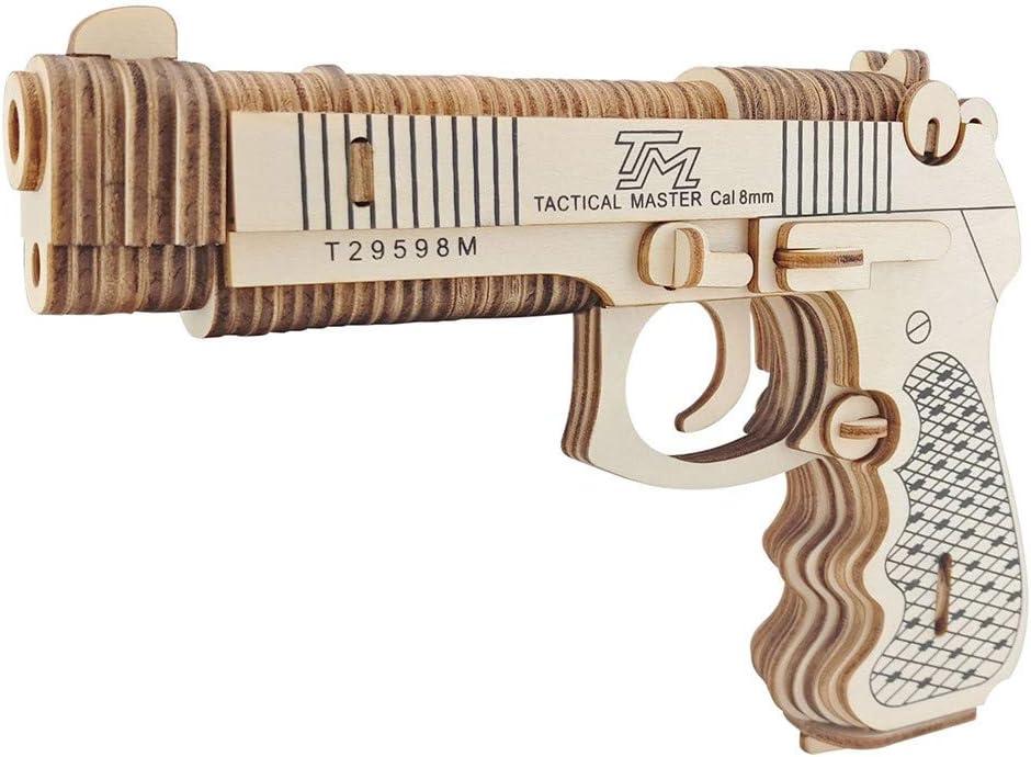 FCHJJ Puzzle 3D de Madera Modelo de Pistola 3D Rompecabezas de Madera Maderas de Calidad Color de Madera Natural protección del Medio Ambiente Pantalla de Seda para Adultos y niños