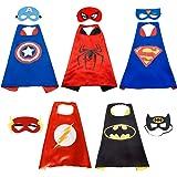 Super Hero Capes HTINAC 5 Capes et 5 Masques - Enfants Cadeaux d'anniversaire - Halloween Costumes Saveurs de Conception Cosplay - Jouets pour Filles et Garçons - Value Kit - Generic