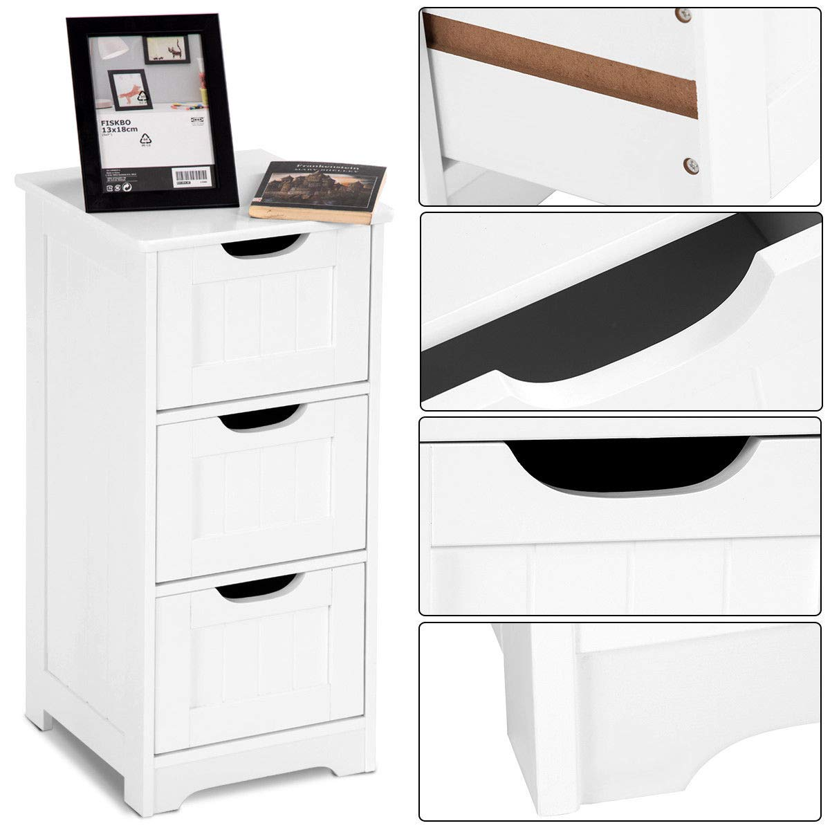 Tangkula Floor Cabinet with 3 Drawers Wooden Storage Cabinet for Home Office Living Room Bathroom Side Table Sturdy Modern Drawer Cabinet Organizer Bedroom Night Stand, White(3 Drawers) by TANGKULA (Image #6)