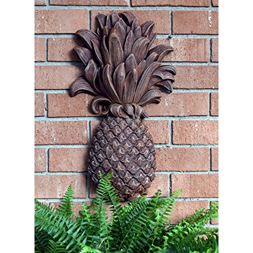 Outdoor Wall Decor Resin Exotic Pineapple Plaque 19'' Height Garden Patio Decoration Ornament (Signs Welcome Pineapple)