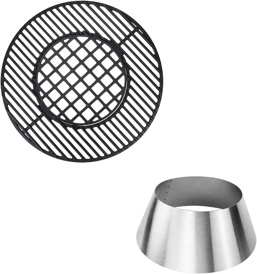 QuliMetal 8835 Cast Iron Cooking Grate and BBQ Whirlpool for Weber Kettle, 22