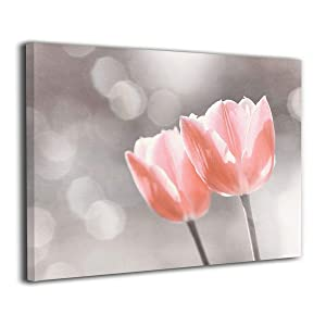 BLI Light Peach Silver Flower Art, Coral Floral Painted Canvas Picture Prints for Home Decorations for Living Room Bedroom Abstract Artwork
