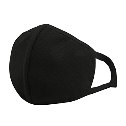 TOOGOO(R) Unisex Elastico Ganchos Rombos Diseno Antipolvo Boca Mascara Negro