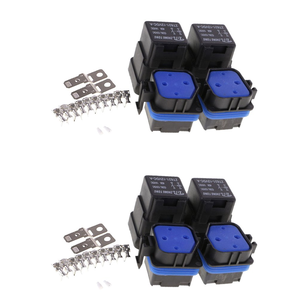 MonkeyJack 4 Set of 12V 4 Pin 40Amp Automotive Relay with Mounting Base with Terminals