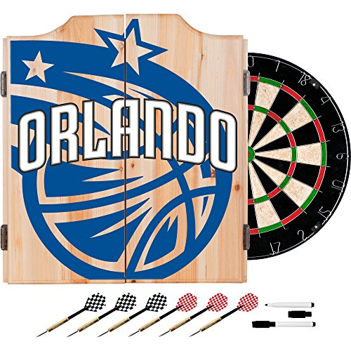 Trademark Gameroom NBA7010-OM2 NBA Dart Cabinet Set with Darts & Board - Fade - Orlando Magic ()