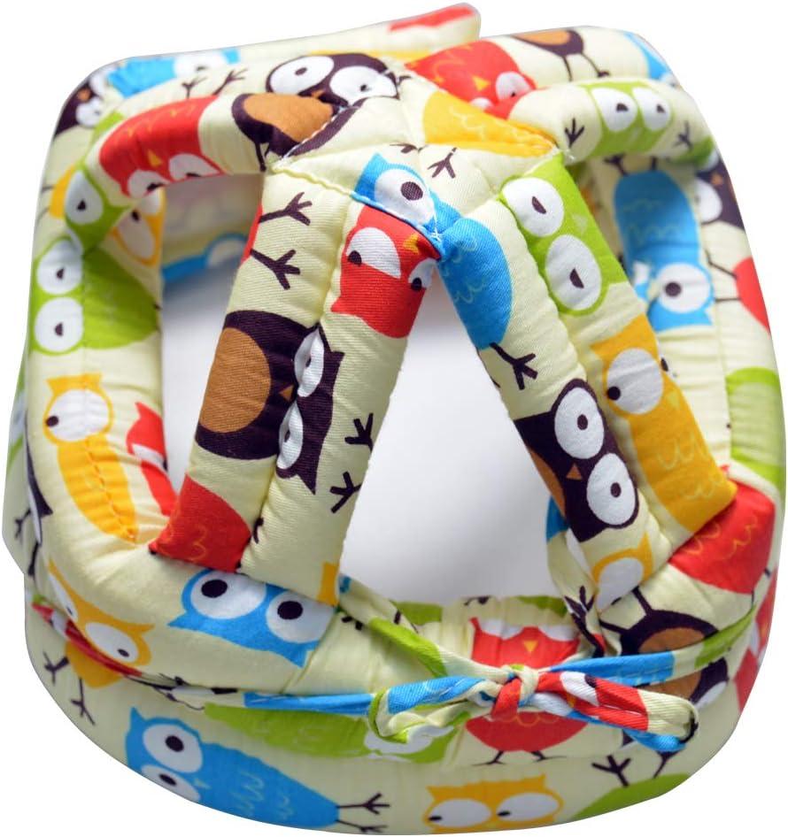 Jaune IULONEE Casque b/éb/é Infant Head Protector Toddler Chapeau de protection Casque de s/écurit/é r/églable en coton