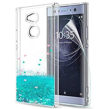 LeYi Funda Sony Xperia XA2 Ultra Silicona Purpurina Carcasa con HD Protectores de Pantalla,Transparente Cristal Bumper Telefono Gel TPU Fundas Case ...
