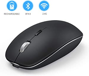 Rechargeable Bluetooth Mouse, Jelly Comb Dual Mode 2.4GHz Wireless and Bluetooth Mouse Compatible for MacBook, Laptop, Windows