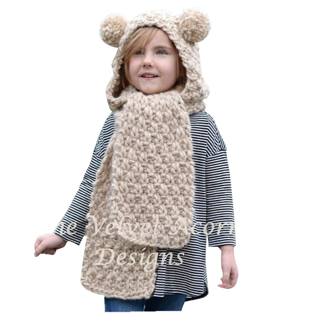 Ssowun Winter Warm Knitted Scarf Hat,Soft Wool Beanie Hat Cute Long Scarf Caps Set for Kids Girls Boys