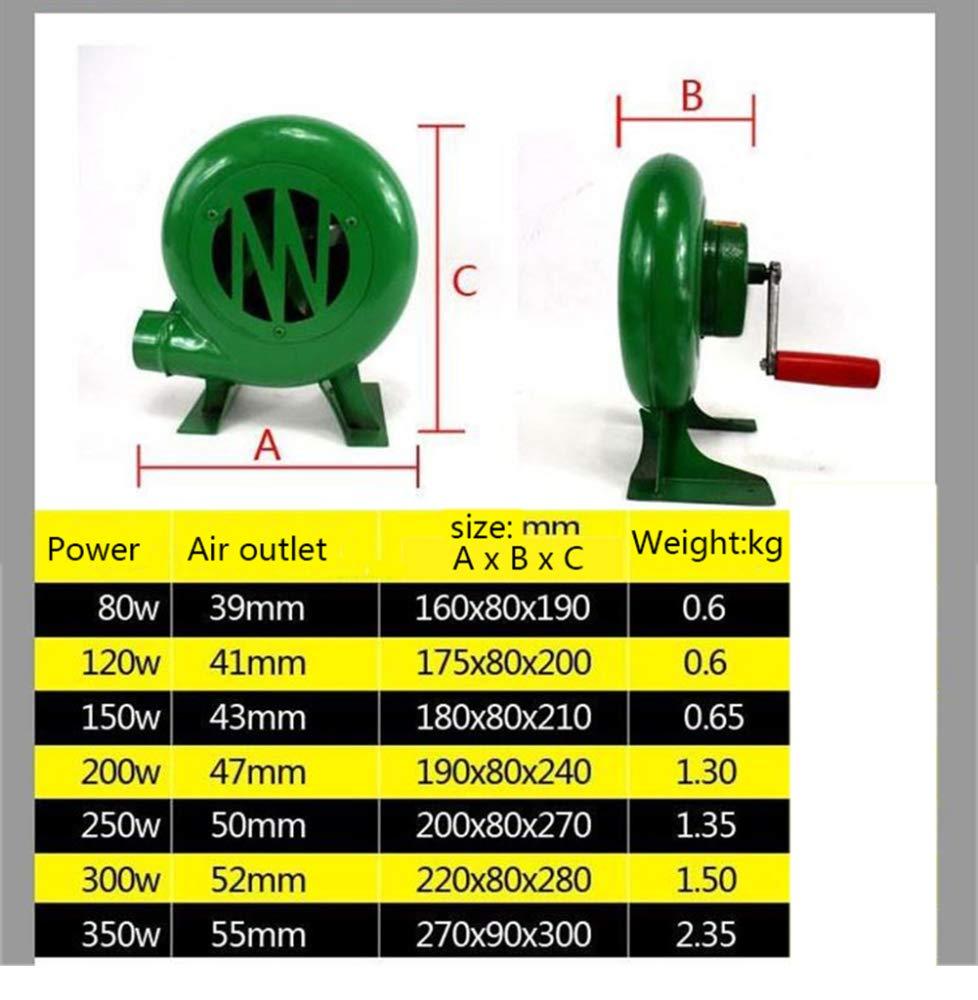 ZGHR Manivela de Ventilador Manual Forge soplador Manivela de Fuelle Ideal para revivir carbones para Herramientas BBQ al Aire Libre Verde (80W-350W): ...