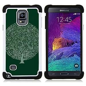 """Samsung Galaxy Note 4 IV / SM-N910 - 3 en 1 impreso colorido de Altas Prestaciones PC Funda chaqueta Negro cubierta gel silicona suave (Bola verde Dibujo Tinta Naturaleza"""")"""