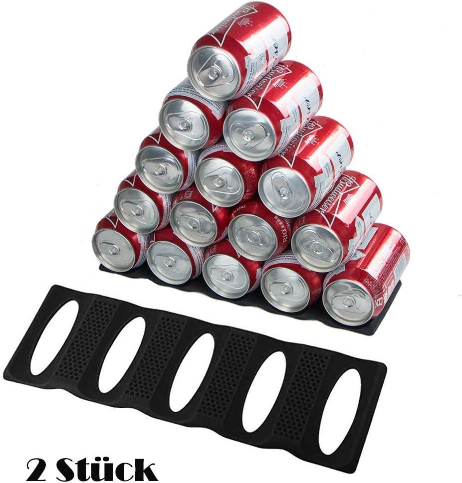 Webake Estante de Silicona para Botellas para la cocina y el frigorífico Juego de 2 Soporte de Silicona Contiene 15 Botellas para Cerveza, latas , la Cocina, el Armario, la despensa, la Nevera