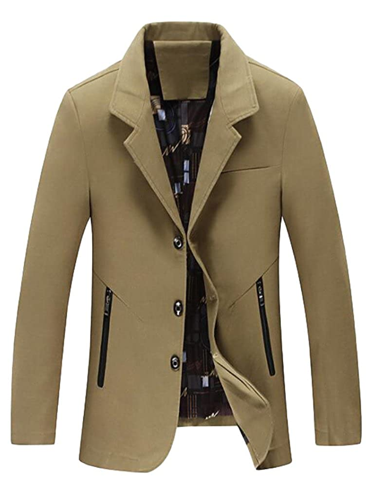 MatchLife Men's Military Slim Single Breasted Turn Down Collar Jacket Trench Coats